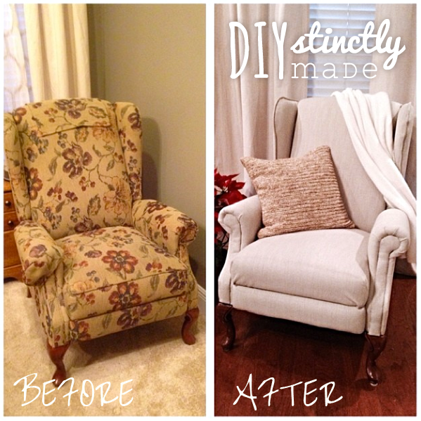DIY Re-uphosltered Wingback Chair | DIYstinctlyMade.com
