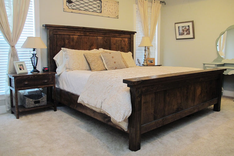 Diy pottery barn farmhouse bed diystinctly made for House bed frame plans