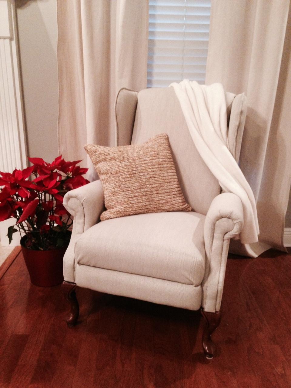 Re-upholstered Wingback Chair | DIYstinctlyMade.com