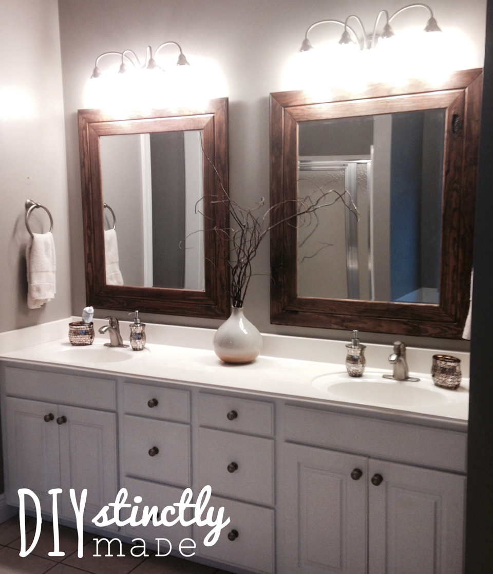 Diy easy framed mirrors diystinctly made for How to frame mirror in bathroom