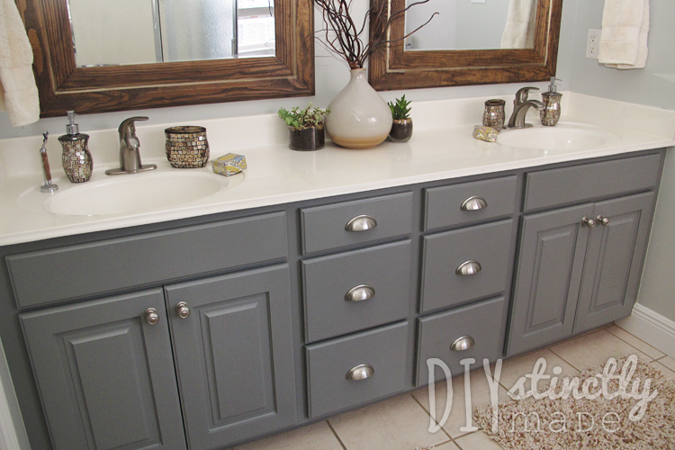 Painted Bathroom Cabinets DIYstinctly Made - Repainting bathroom cabinets