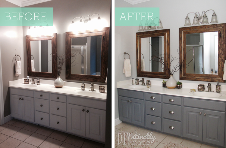 how to paint cabinets diystinctlymadecom - Painted Bathroom Cabinets Before And After